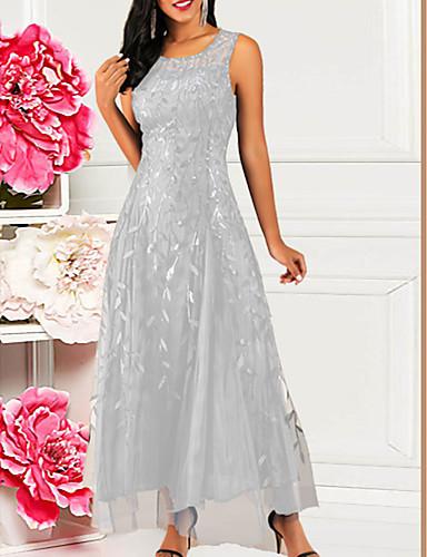 voordelige Maxi-jurken-Dames A-lijn Jurk - Bloemen Maxi