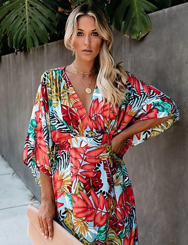 voordelige Maxi-jurken-Dames Street chic Wijd uitlopend Jurk - Geometrisch, Print Maxi