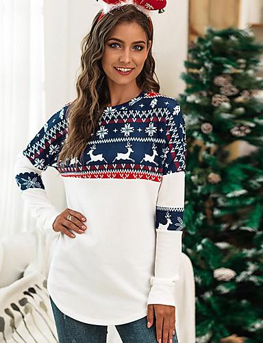 billige Topper til damer-T-skjorte Dame - Geometrisk Hvit