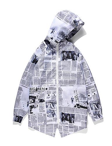 voordelige Herenjacks & jassen-Heren / Dames Dagelijks / Uitgaan Vintage / Street chic Lente & Herfst Lang Trenchcoat, Geometrisch / Letter Capuchon Lange mouw Polyester Oversized / Print Lichtgrijs