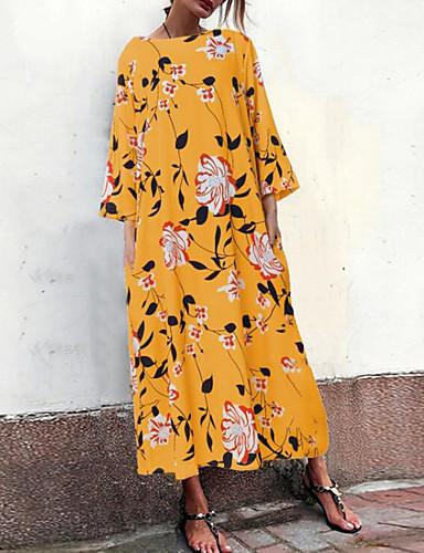 voordelige Grote maten jurken-Dames Street chic Elegant Recht Jurk - Gestreept Geometrisch, Geplooid Print Maxi