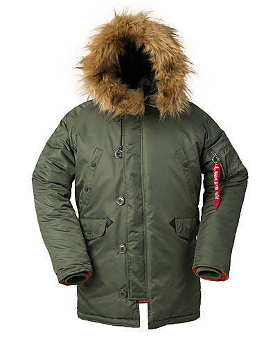 voordelige Heren donsjassen & parka's-Heren Effen Lang Parka, POLY Zwart / Leger Groen / Marineblauw US32 / UK32 / EU40 / US36 / UK36 / EU44 / US38 / UK38 / EU46