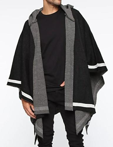 voordelige Herenmode-Heren Gestreept Lange mouw Cloak / Capes, Capuchon Zwart US36 / UK36 / EU44 / US38 / UK38 / EU46 / US40 / UK40 / EU48