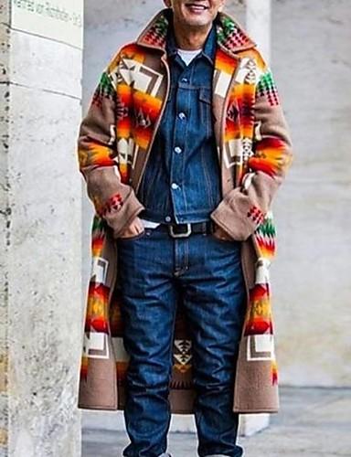 voordelige Herenjacks & jassen-Heren Dagelijks Winter Normaal Jas, Kleurenblok Strijkijzer Lange mouw Polyester Bruin