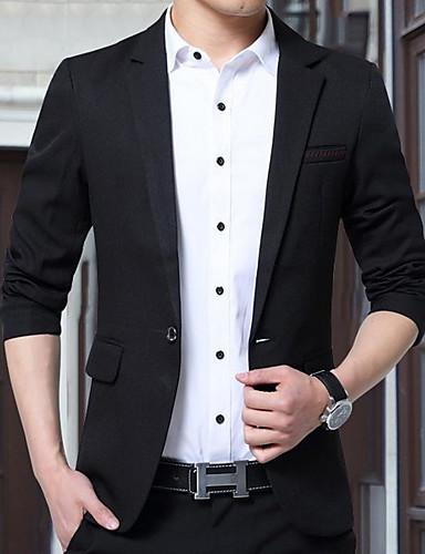 voordelige Herenblazers & kostuums-Heren Blazer Overhemdkraag Polyester Zwart / Wijn / blauw