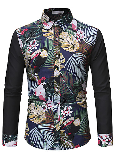 voordelige Herenoverhemden-Heren Overhemd Bloemen Flamingos Zwart
