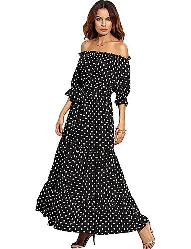 voordelige Maxi-jurken-Dames Standaard Wijd uitlopend Jurk - Polka dot, Print Maxi