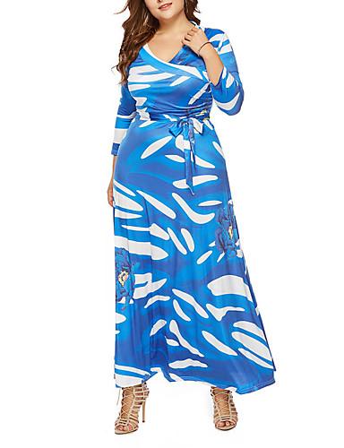 voordelige Maxi-jurken-Dames Standaard Schede Jurk - Geometrisch Maxi