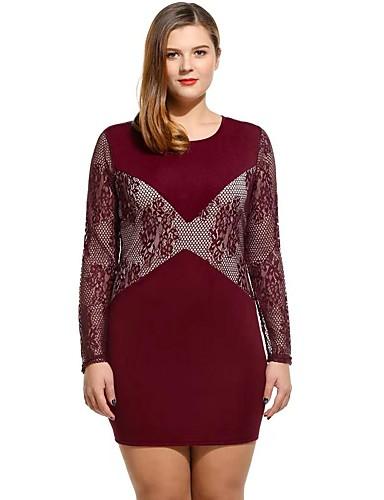 voordelige Grote maten jurken-Dames Bodycon Jurk - Bloemen Midi