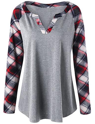 billige Dametopper-T-skjorte Dame - Fargeblokk / Ruter Svart