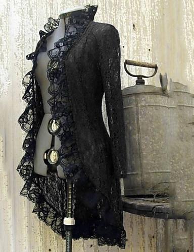 voordelige Damesjassen & trenchcoats-Dames Dagelijks Normaal Trenchcoat, Kleurenblok Opstaand Lange mouw Polyester Zwart / Wijn / Blozend Roze
