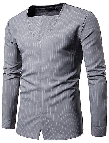 voordelige Herenoverhemden-Heren Street chic Overhemd Kleurenblok Zwart