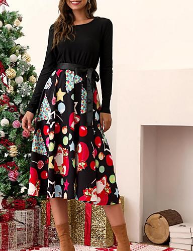 voordelige Kerstwinkel-Dames Elegant Wijd uitlopend Jurk - Geometrisch Asymmetrisch