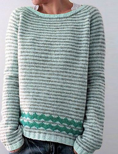 billiga Damöverdelar-Dam Randig Långärmad Pullover Purpur / Rodnande Rosa / Blå S / M / L