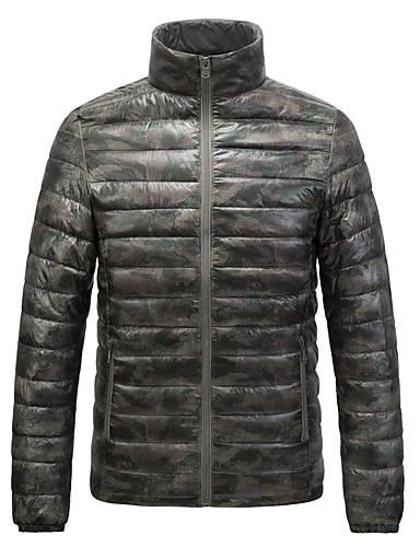 voordelige Heren donsjassen & parka's-Heren Camouflage Kleur Normaal Dons, Polyester blauw / Klaver / Grijs US32 / UK32 / EU40 / US34 / UK34 / EU42 / US36 / UK36 / EU44