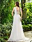 cheap Wedding Dresses-Sheath / Column Cowl Neck Sweep / Brush Train Chiffon Wedding Dress with Crystal Pearl Sash / Ribbon Side-Draped by LAN TING BRIDE®