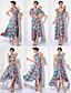 preiswerte Abendkleider-Eng anliegend V-Ausschnitt Asymmetrisch Gestrickt Wandelbare Kleider Abiball / Formeller Abend Kleid mit Muster / Druck / Plissee durch TS Couture®