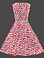 женская старинная тонкий горошек платье без рукавов (с поясом)