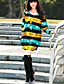 hesapli Kadın Elbiseleri-Kadın's Günlük Salaş Diz üstü Elbise, Dantelli Desen Uzun Kollu Yuvarlak Yaka