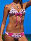 baratos Biquínis e Roupas de Banho Femininas-Feminino Sem Aro Com Bojo Nadador,Biquíni Floral Boho,Poliéster Geométricas