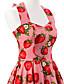 baratos Vestidos de Mulher-Mulheres Vestido Evasê Vintage Floral Altura dos Joelhos Nadador Algodão