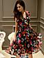 preiswerte Damen Kleider-Damen Kleid-Swing Street Schick Blumen Übers Knie Polyester / Elasthan V-Ausschnitt