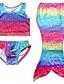 baratos Roupas de Banho para Meninas-Para Meninas Roupa interior Arco-Íris Verão Poliéster Com Stretch Vermelho