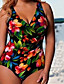 Dames Bandeau Polyester Eendelig Zwemkleding Bloemen,Groen