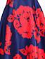 povoljno Ženske haljine-Žene A kroj Haljina Cvjetni print Visoki struk