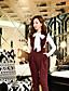 お買い得  レディーストップス-女性用 リボン フリル プリーツ メッシュ Tシャツ スタンド ソリッド パフスリーブ