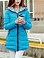 abordables Parkas pour Femme-Femme Quotidien Couleur Pleine Normal Doudoune, Polyester Manches Longues Automne / Hiver Capuche Bleu / Rose / Bleu clair XL / XXL / XXXL