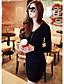 preiswerte Damen Kleider-Damen Bodycon Kleid-Lässig/Alltäglich Einfach Solide V-Ausschnitt Übers Knie Langarm Schwarz Grau Baumwolle Frühling Herbst Hohe Hüfthöhe