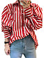 cheap Focus on Sleeves-Women's Going out / Work / Club Vintage / Street chic / Sophisticated Puff Sleeve Shirt - Striped Shirt Collar / Fine Stripe