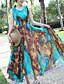 여성 스윙 드레스 캐쥬얼/데일리 비치 심플 보호 프린트,V 넥 미디 민소매 폴리에스테르 여름 중간 밑위 신축성 없음 얇음
