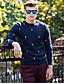 저렴한 남성 스웨터 & 가디건-남성 보통 풀오버 캐쥬얼/데일리 홀리데이 플러스 사이즈 단순한 활동적 펑크 & 고딕 자카드 자수장식 위장,라운드 넥 긴 소매 면 봄 가을 중간 약간의 신축성