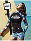 رخيصةأون ملابس السباحة والبيكيني 2017 للنساء-L XL XXL طباعة ورد, ملابس السباحة ثلاثة قطع قطعة واحدة أسود رياضي ستايل رياضي نسائي