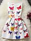 levne Dívčí šaty-Dívka je Bavlna Geometrický Módní Léto Šaty, Bez rukávů Květinový Mašle Bílá