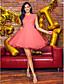 Báli ruha Ékszer Rövid / mini Tüll Koktélparty Szalagavató Ruha val vel Gyöngydíszítés Rátétek Csipke által TS Couture®