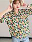 نساء قميص كاجوال/يومي بسيط طباعة قبعة القميص كم قصير أخرى