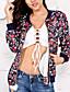 Damen Druck Einfach Retro Street Schick Festtage Ausgehen Lässig/Alltäglich Jacke,V-Ausschnitt Frühling Herbst Lange Ärmel Standard
