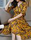 preiswerte Damen Kleider-Damen A-Linie Kleid-Ausgehen Lässig/Alltäglich Strand Boho Blumen V-Ausschnitt Midi Halbe Ärmel Polyester Sommer Herbst Hohe Hüfthöhe