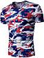preiswerte Herren T-Shirts & Tank Tops-Herrn camuflaje Einfach Lässig/Alltäglich T-shirt, V-Ausschnitt Sommer Kurzarm Polyester