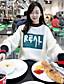 preiswerte Damen Kapuzenpullover & Sweatshirts-Damen Pullover Ausgehen Solide Buchstabe Rundhalsausschnitt Dehnbar Polyester ¾ Ärmel Frühling Herbst