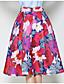 olcso Női szoknyák-Női A-vonalú Alkalmi Vintage Szoknyák - Virágos Nyomtatott / Nyár