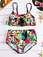 baratos Biquínis e Roupas de Banho Femininas-Mulheres Nadador Floral Biquíni - Floral / Cintura Alta