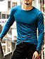 זול טישרטים לגופיות לגברים-אחיד צווארון עגול כותנה, טישרט - בגדי ריקוד גברים / שרוול ארוך