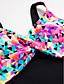 رخيصةأون لانجيري للنساء-التقزح اللوني زهري ملابس السباحة ثلاثة قطع طباعة أعلى الرقبة نساء