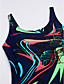 tanie Bikini i odzież kąpielowa-Damskie Czarny Granatowy Królewski błękit Jednoczęściowy Stroje kąpielowe - Geometric Shape Nadruk XL XXL XXXL