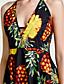 זול שמלות נשים-אננס קולר מותניים גבוהים מיני גב חשוף, פירות - שמלה גזרת A חגים בגדי ריקוד נשים / קיץ