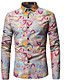 cheap Men's Shirts-Men's Vintage / Boho Plus Size Cotton Shirt - Paisley Print Spread Collar / Long Sleeve